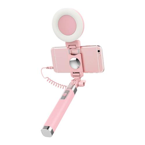 ROCK  Wire Control Extendable Monopod Selfie Stick with Night LED Fill Light for